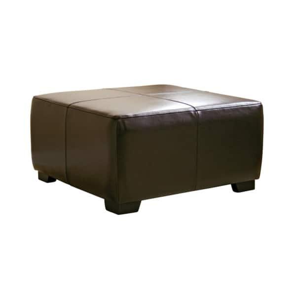 Excellent Shop Square Dark Brown Bi Cast Leather Ottoman Free Inzonedesignstudio Interior Chair Design Inzonedesignstudiocom