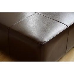Square Dark Brown Bi-cast Leather Ottoman