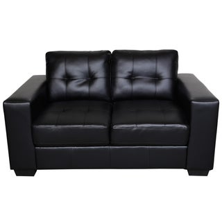 Sitswell Harper Black Bonded Leather Contemporary Loveseat
