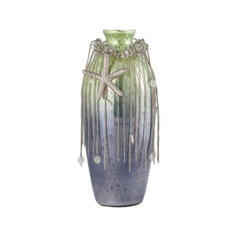 Sterling Home Vase Corfu 12-Inch Glass Vase In Pampas Green