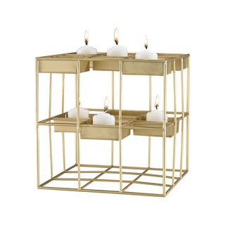 Dimond Home Plaza Gold Leaf 9-Inch Metal Candle Holder