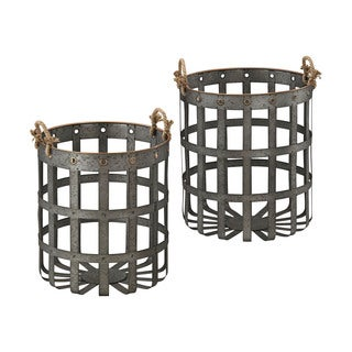 Dimond Home Set of 2 Caxton Baskets In Aged Iron With Gold Highlights
