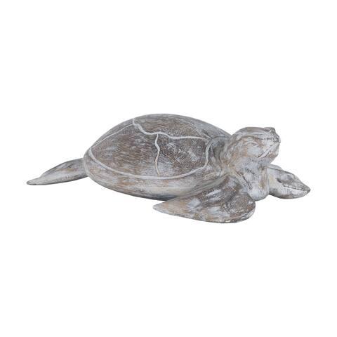 Dimond Home Galapagos Turtle White Washed Albasia Wood