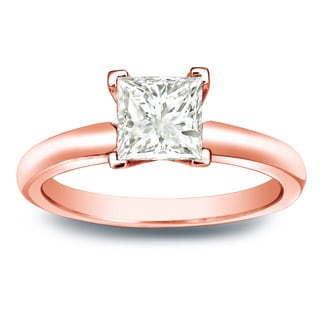 Auriya 14k Gold 1/2ct TDW Princess-cut Diamond V-End Solitaire Engagement Ring (J-K, I1-I2)