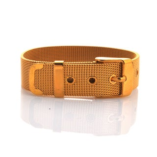 Mesh Bracelet with Buckle - Yellow Gold