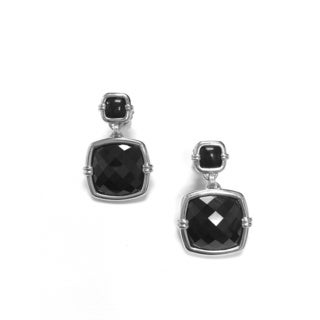 Goshwara 'Bloom' Onyx and Black Spinel Faceted Cushion Earrings