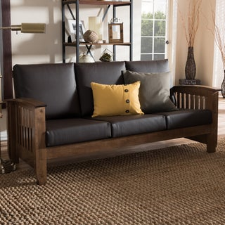Baxton Studio Callidora Modern Classic Mission Style Walnut Wood Dark Brown Faux Leather 3-Seater Sofa
