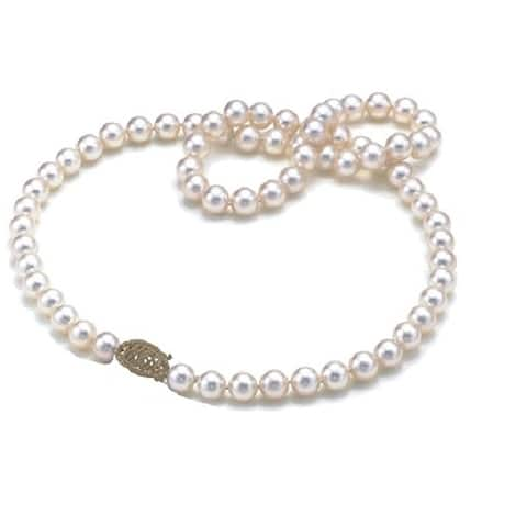 14k Yellow Gold White 'AA' Quality Round Akoya Pearl Strand Necklace (6 - 7 mm)