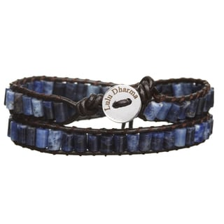 Silver Overlay Sodalite Cylinder Gemstone Wrap Bracelet