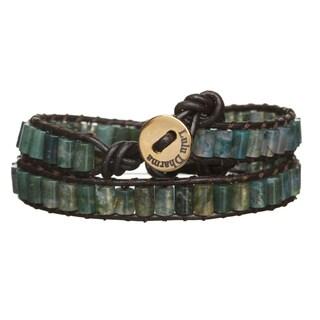 Gold Overlay Moss Agate Cylinder Gemstone Wrap Bracelet