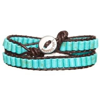 Silver Overlay Turquoise Cylinder Gemstone Wrap Bracelet