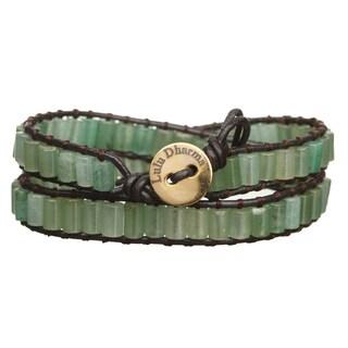 Gold Overlay Green Aventurine Cylinder Gemstone Wrap Bracelet