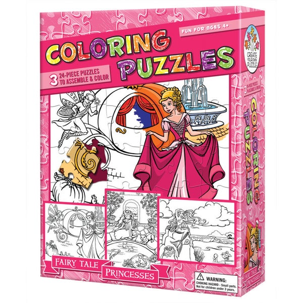 Coloring Puzzles - Fairy Tale Princesses: 24 Pcs