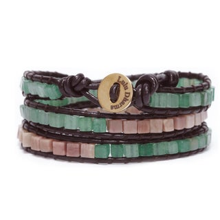 Gold Overlay Green Aventurine and Rhodonite Square Gemstone Wrap Bracelet