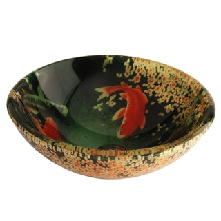 Fontaine Koi and Lily Pond Glass Vessel Bathroom Sink