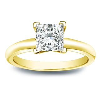 Auriya 14k Gold 3/4ct TDW Princess-cut Diamond V-End Solitaire Engagement Ring (I-J, SI2-SI3)