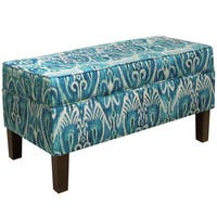 Homepop Large Teal Leatherette Storage Bench Free
