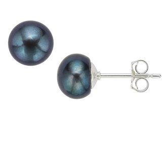 Sterling Silver Black Freshwater Pearl Button Stud Earrings (8-9mm)