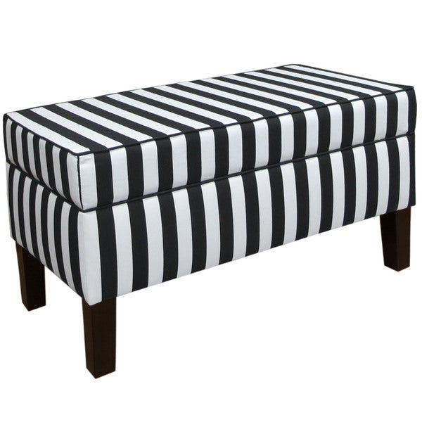 Skyline Furniture Canopy Stripe Black and White Storage Bench