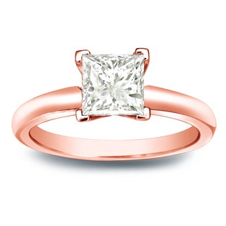 Auriya 14k Gold 3/4ct TDW Princess-cut Diamond V-End Solitaire Engagement Ring (J-K, I1-I2)