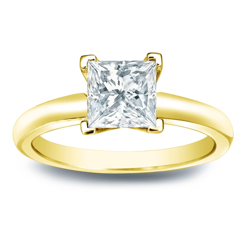 Auriya 14k Gold 1ct TDW Princess-cut Diamond V-End Solita...