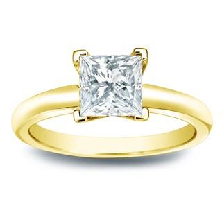 Auriya 14k Gold 1ct TDW Princess-cut Diamond V-End Solitaire Engagement Ring