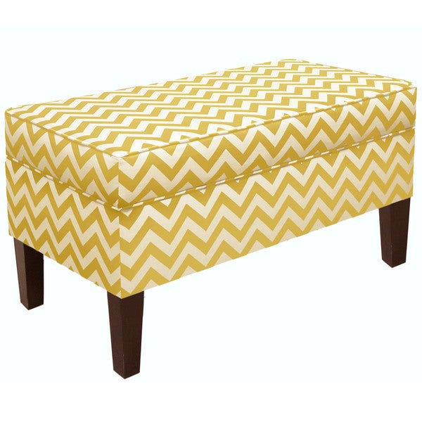 Shop Skyline Furniture Zig Zag Yellow Slub Storage Bench