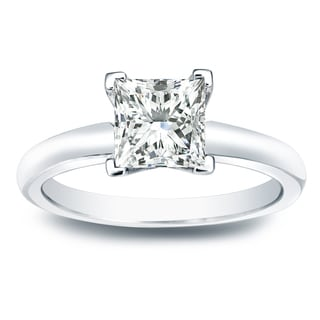 Auriya 14k Gold 1ct TDW Princess-cut Diamond V-End Solitaire Engagement Ring (I-J, SI2-SI3)