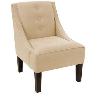 Skyline Furniture Linen Sandstone Three-button Swoop Arm Chair