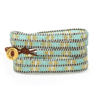 Gold Overlay Light Blue and Gold Seed Bead 5 Wrap Bracelet
