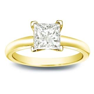 Auriya 14k Gold 1ct TDW Princess-cut Diamond V-End Solitaire Engagement Ring (J-K, I1-I2)