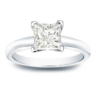 Auriya 14k Gold 1ct TDW Princess-cut Diamond Solitaire Engagement Ring