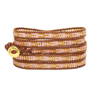 Gold Overlay Pink and Gold Seed Bead 5 Wrap Bracelet