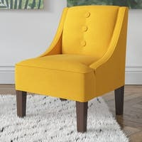 Skyline Furniture Linen French Yellow 3-button Swoop Arm Chair - N/A