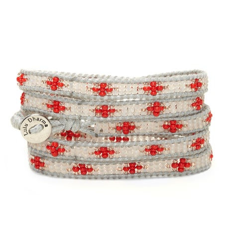 Silver Overlay Silver and Red Seed Bead 5-wrap Bracelet