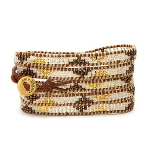 Gold Overlay Gold, Brown, and Clear Seed Bead 5 Wrap Bracelet