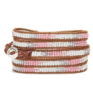 Silver Overlay Tri-color Seed Bead 5-wrap Bracelet