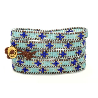 Gold Overlay Light Blue and Dark Blue Seed Bead 5 Wrap Bracelet