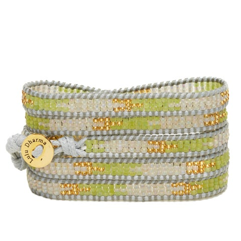 Gold Overlay Green, Gold and Clear Opaque Seed Bead 5 Wrap Bracelet