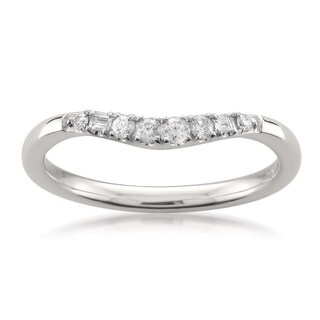 Montebello 14k White Gold 1/6ct TDW White Diamond Curved Wedding Band