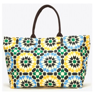 Lotus Geometric Floral Canvas Tote Bag