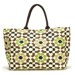Bells of Ireland Geometric Floral Canvas Tote Bag