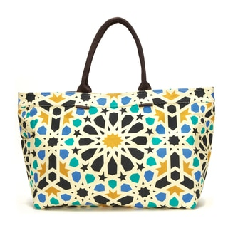 Dahlia Geometric Floral Canvas Tote Bag
