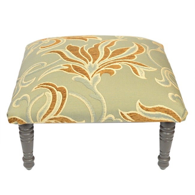 Corona Decor Flora Design Hand Woven Brown/Teal Footstool...