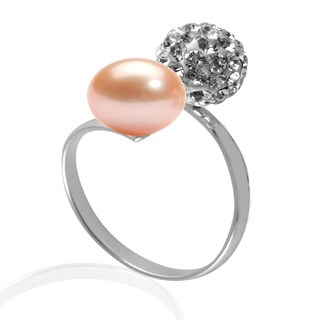 GIG Jewels Sterling Silver Pink Freshwater Pearl and Crystal Gemstones Ball Stretchable Ring