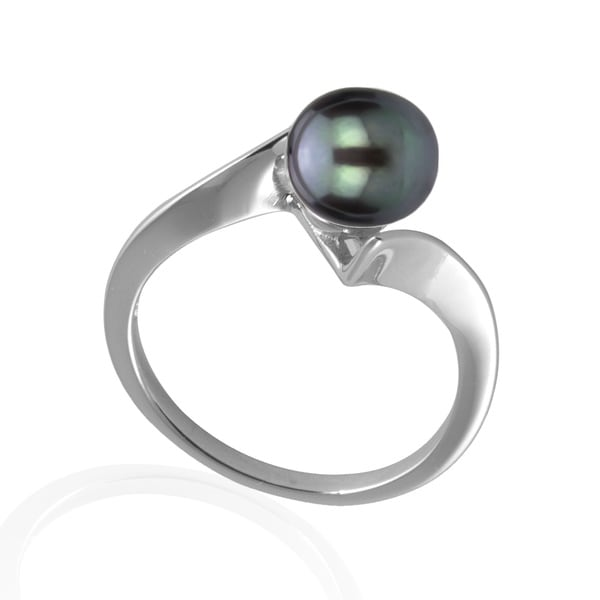 GIG Jewels Sterling Silver Black Button Shape Cultured Freshwater Pearl Ring (7-8 mm)