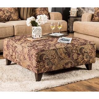 Furniture of America Shellie Square Paisley Print Ottoman