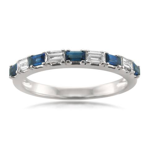 Montebello 14k White Gold 1/2ct TDW Baguette-cut White Diamond and Blue Sapphire Wedding Band