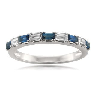 Montebello 14k White Gold 1/2ct TDW Baguette-cut White Diamond and Blue Sapphire Wedding Band (H-I, VS1-VS2)