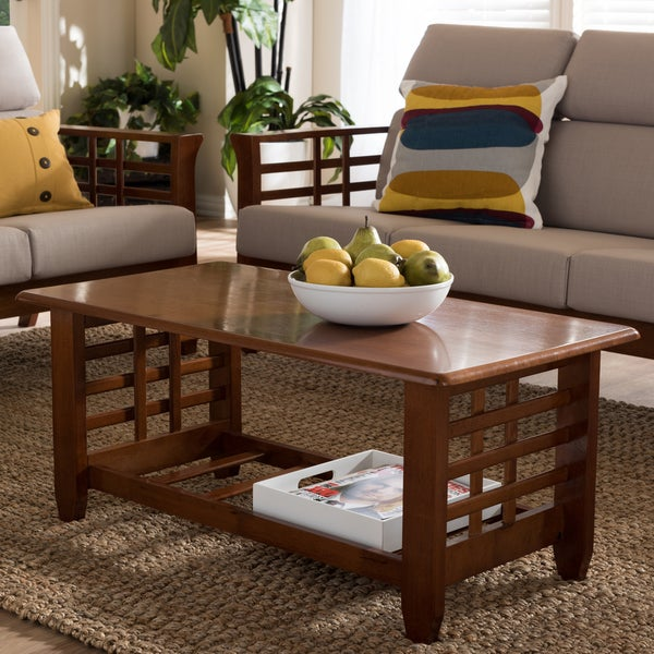 Baxton studio leda mission style cherry coffee table for Modern cherry coffee table